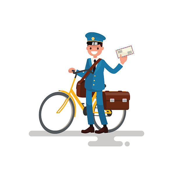 cheerful postman with the bike and the letter in his - postal worker stock illustrations