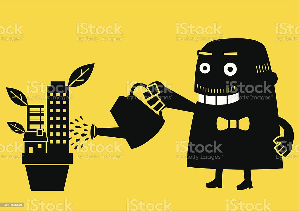 Cheerful Property Investor | Yellow Business Concept vector art illustration