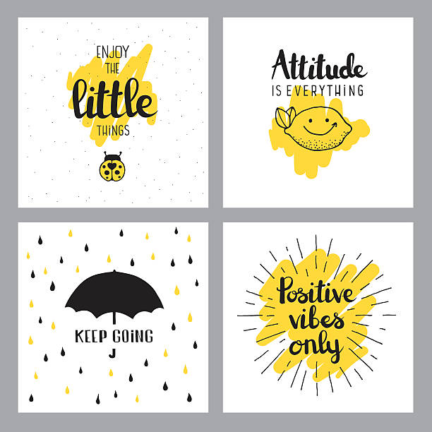 Cheerful quotes Editable set of vector illustrated quotes on layers. positive emotion stock illustrations