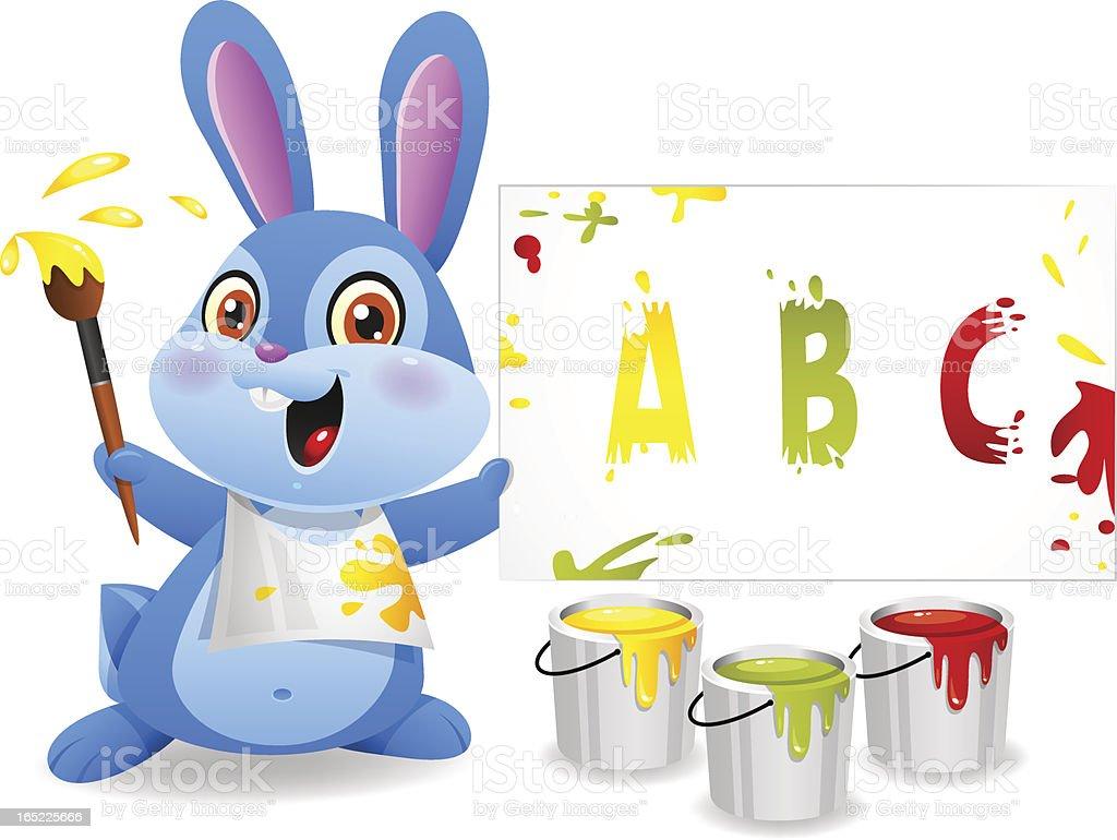 Cheerful rabbit draws on paper royalty-free stock vector art