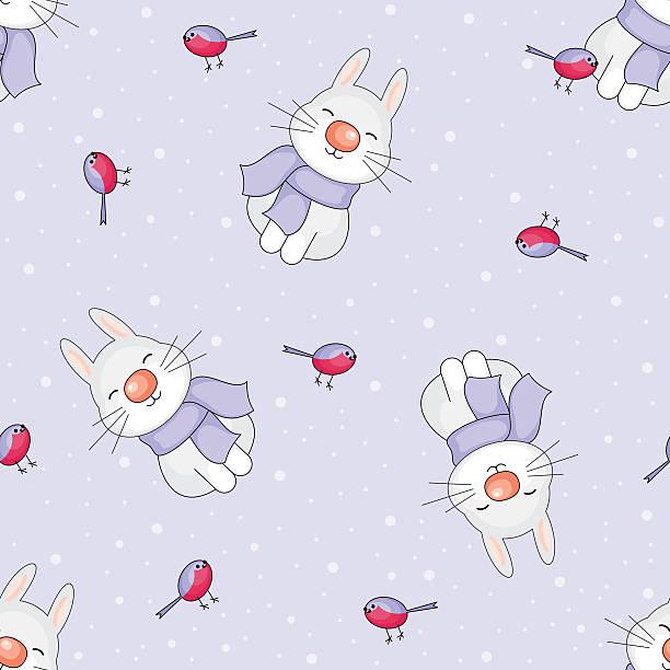 cheerful rabbits seamless pattern - dompfaff stock-grafiken, -clipart, -cartoons und -symbole