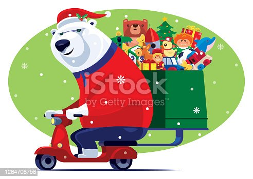 istock cheerful Santa polar bear carrying toys with scooter 1284708758