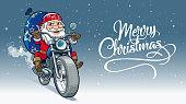 Santa motor-biker, delivering Christmas gifts to all kind people
