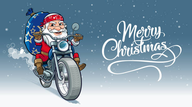 Cheerful Santa Santa motor-biker, delivering Christmas gifts to all kind people one senior man only illustrations stock illustrations