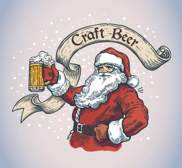 Cheerful Santa with a mug beer vector art illustration