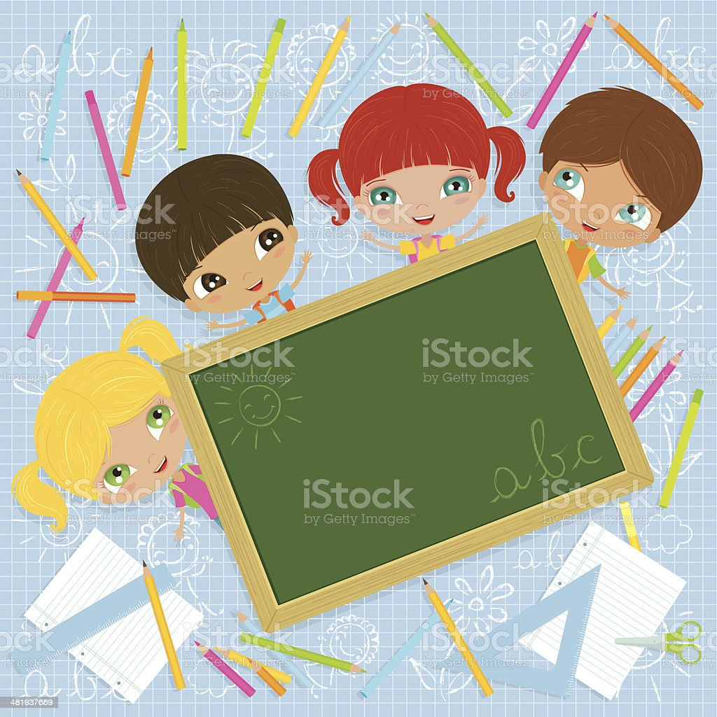 Cheerful School Kids with Blackboard royalty-free stock vector art