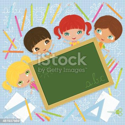 istock Cheerful School Kids with Blackboard 481937669