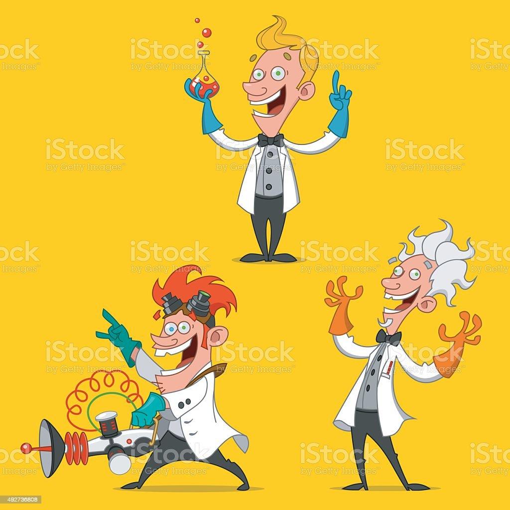 cheerful scientists. vector art illustration