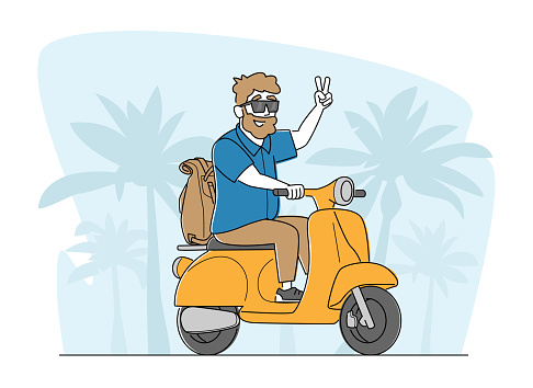 Cheerful Senior Riding Motorbike with Backpack, Hipster Pensioner Active Lifestyle, Aged Male Character Extreme Activity
