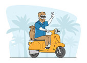 istock Cheerful Senior Riding Motorbike with Backpack, Hipster Pensioner Active Lifestyle, Aged Male Character Extreme Activity 1277391140