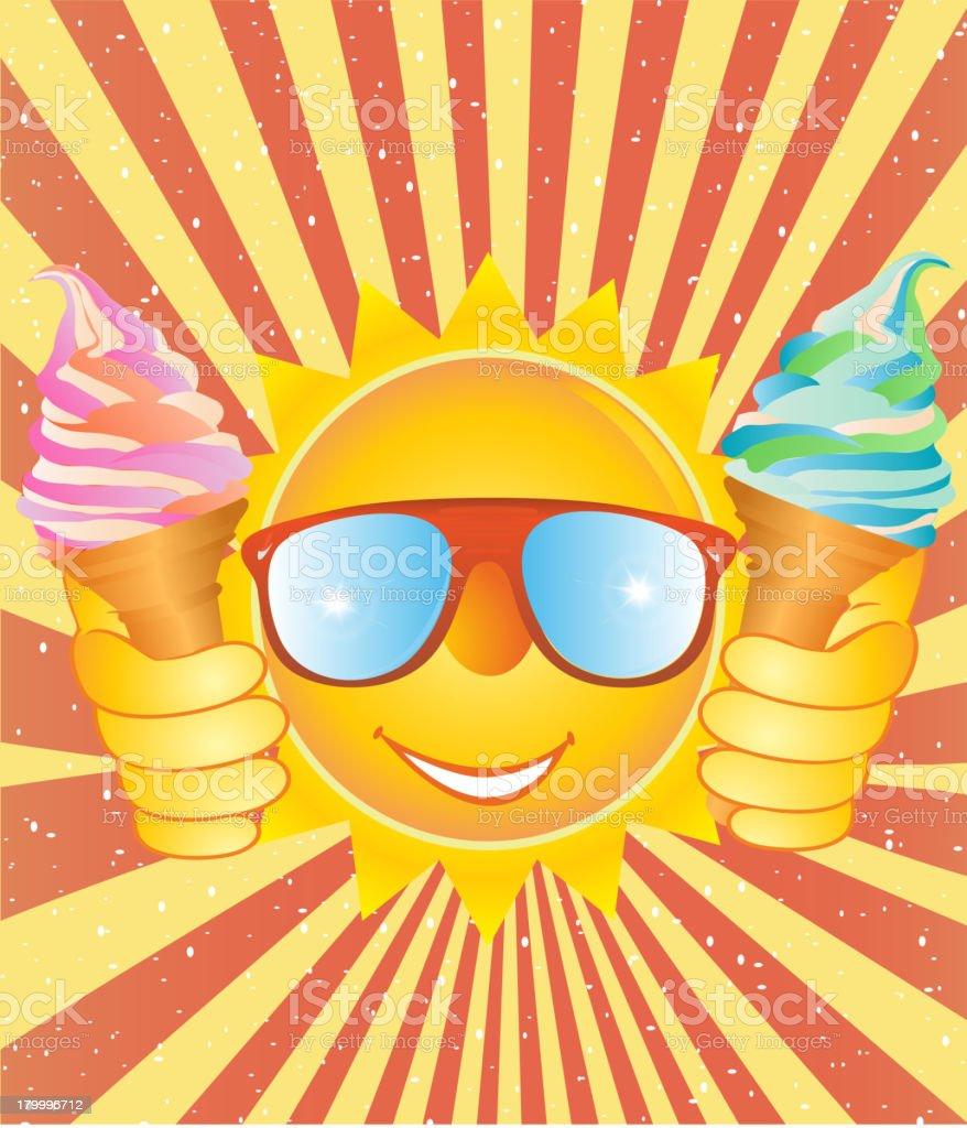 활기참 웃는 아이스크림 있는 빈티지 배경. royalty-free 활기참 웃는 아이스크림 있는 빈티지 배경 건강한 생활방식에 대한 스톡 벡터 아트 및 기타 이미지