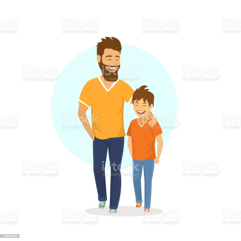 cheerful smiling laughing father and son walking together, talking vector art illustration
