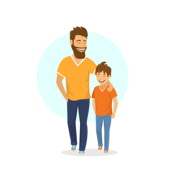 cheerful smiling laughing father and son walking together, talking cheerful smiling laughing father and son walking together, talking parenting stock illustrations