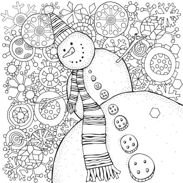 쾌활 한 눈사람와 눈송이입니다. 겨울, 눈, 썰매, 당근, 버튼. 메리 크리스마스, 해피 뉴가 어입니다. 성인 색칠에 대 한 패턴입니다. 흑인과 백인입니다. - 색칠하기 stock illustrations