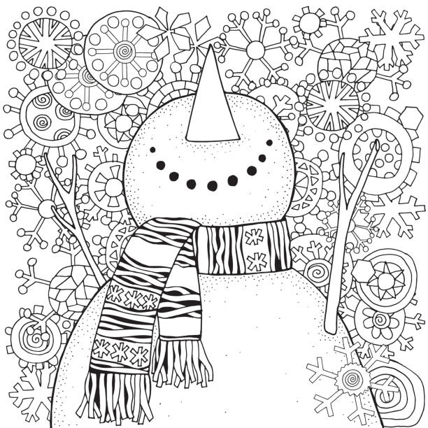 ilustrações de stock, clip art, desenhos animados e ícones de cheerful snowman and snowflakes. winter, snow, sled, carrot, buttons. merry christmas, happy new year. pattern for adult coloring book. black and white. - adulto