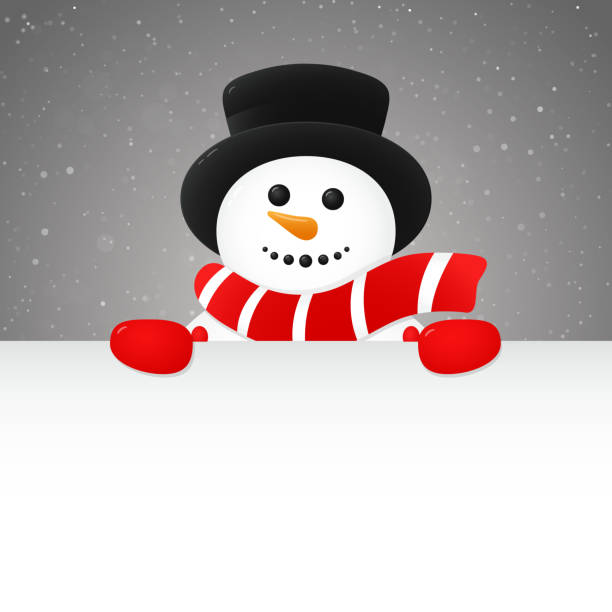 Cheerful snowman - concept of poster with copyspace. Vector. Cheerful snowman - concept of poster with copyspace. Vector. snowman stock illustrations