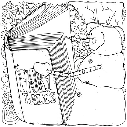 A cheerful snowman is reading the book. Winter, snow. Merry Christmas, Happy New Year. Pattern for adult coloring book. Black and white.