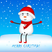Cheerful Snowman with Red Scarf and Santa's Cap. Christmas cute cartoon character.Vector illustration of elf on white background. Isolated.