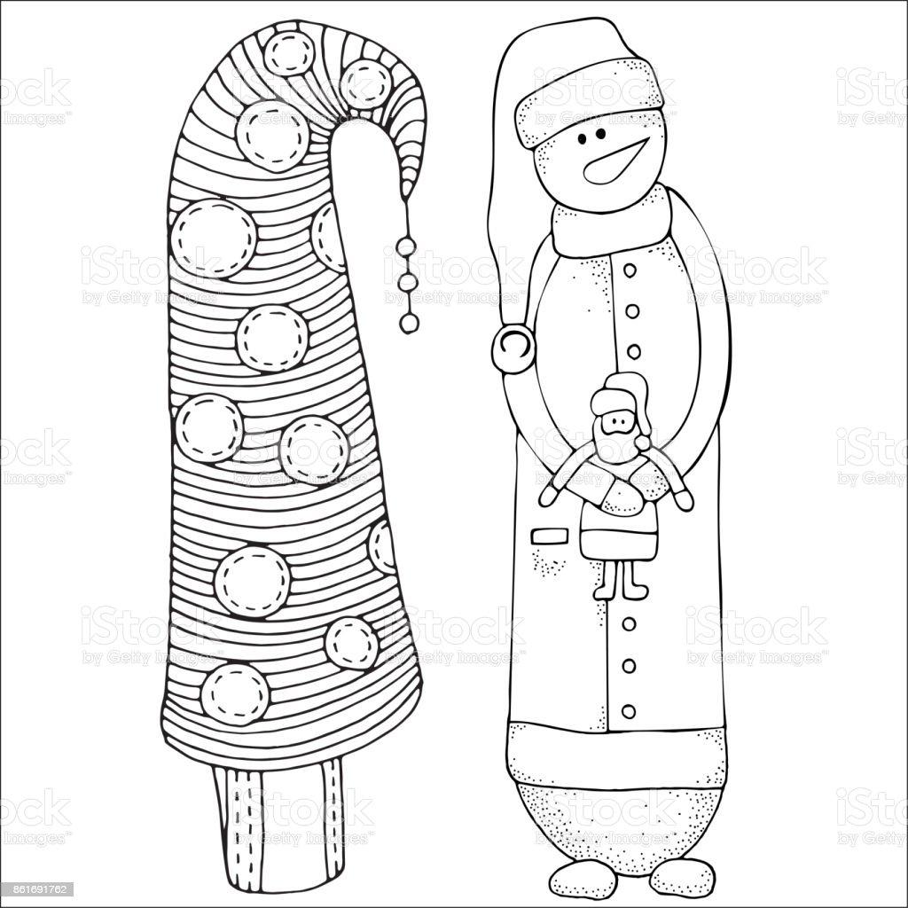 Neşeli Kardan Adam Ve Noel Ağacı Kış Kar Ağaçlar Havuç Mutlu Yıllar
