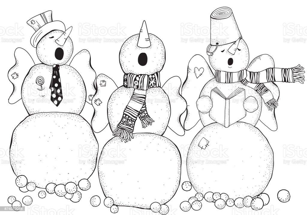 Cheerful Snowmen Sing Songs Winter Snow Chorus Merry ...