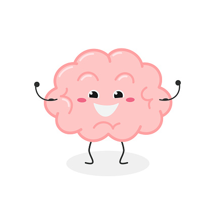 Cheerful strong cartoon brain character