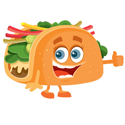 cheerful taco character with eyes smiling, isolated object on a white background,