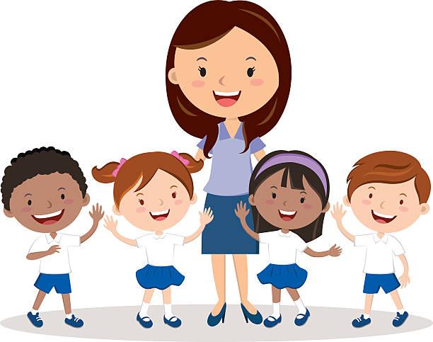 Cheerful teacher and school kids. Vector illustration of a female teacher and school kids. preschool teacher stock illustrations