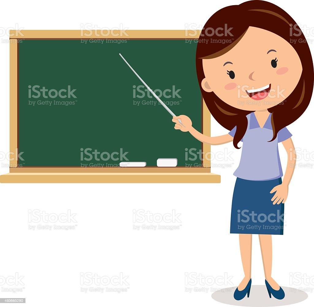 Cheerful teacher on lesson vector art illustration
