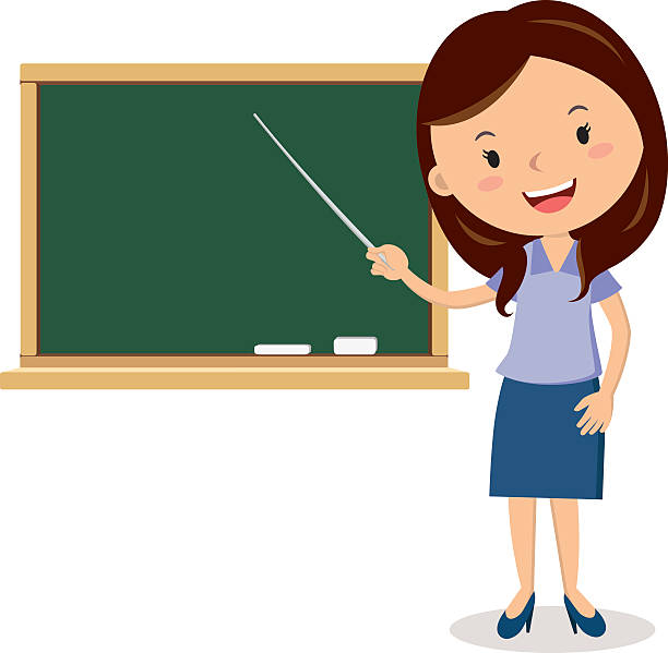Cheerful teacher on lesson vector art illustration