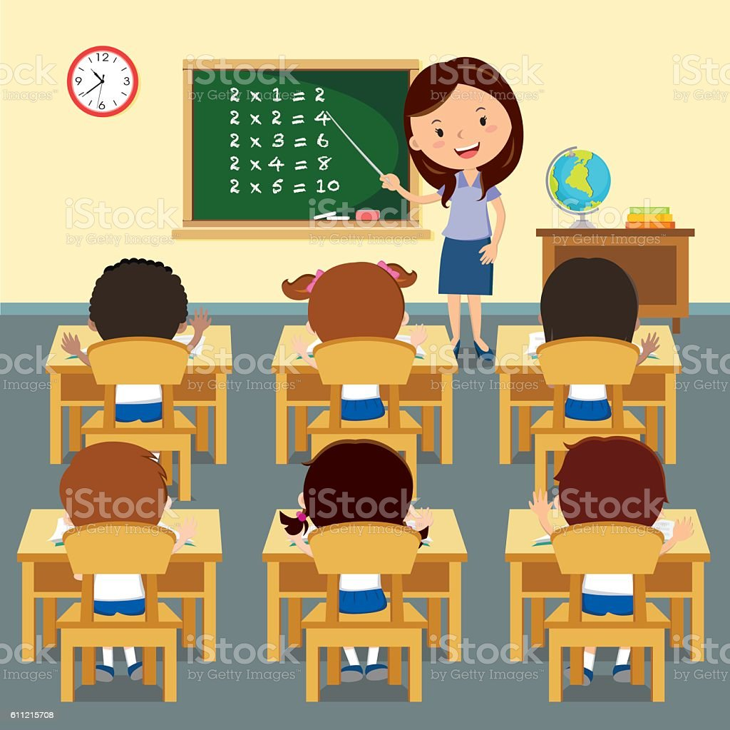 cheerful teacher teaching in classroom イラストレーションの