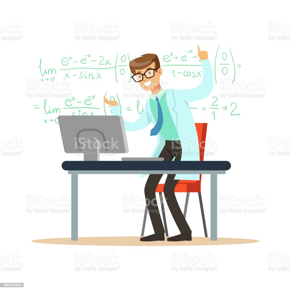 Cheerful theoretical physicist or mathematician solved the problem royalty-free cheerful theoretical physicist or mathematician solved the problem stock vector art & more images of adult