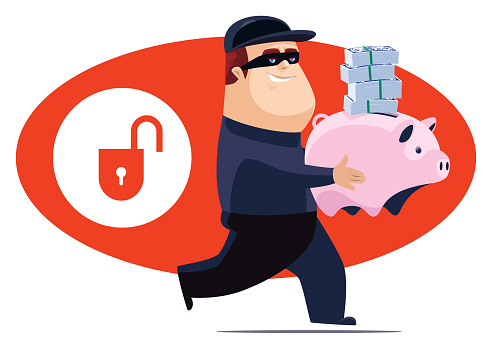 cheerful thief holding piggy bank and stack of money