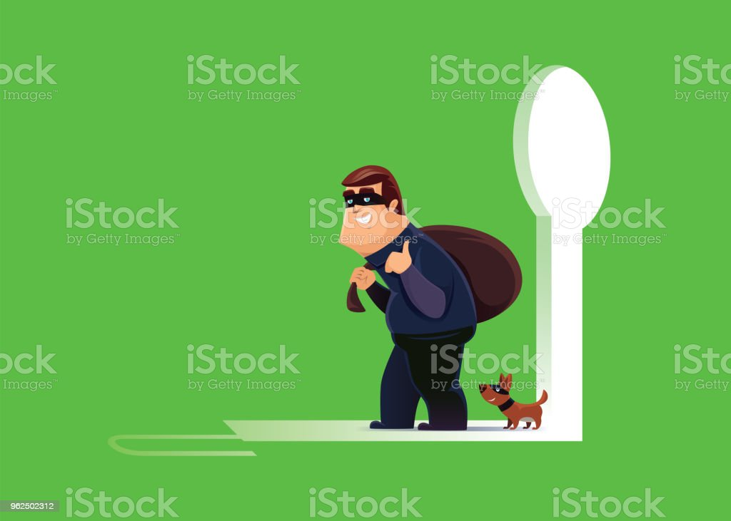 cheerful thief with dog leaving unlocked exit - Royalty-free Agreement stock vector