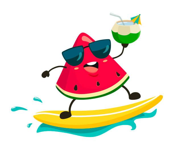 illustrazioni stock, clip art, cartoni animati e icone di tendenza di cheerful watermelon surf on the wave with a drink. vector illustration in cartoon style on white background. - capri