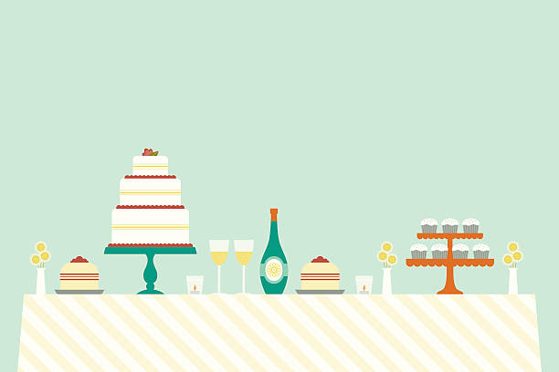 Cheerful Wedding Day Table A beautiful spread for a special day, all the elegant items needed at your nuptials, a fun party or beautiful celebration cakestand stock illustrations