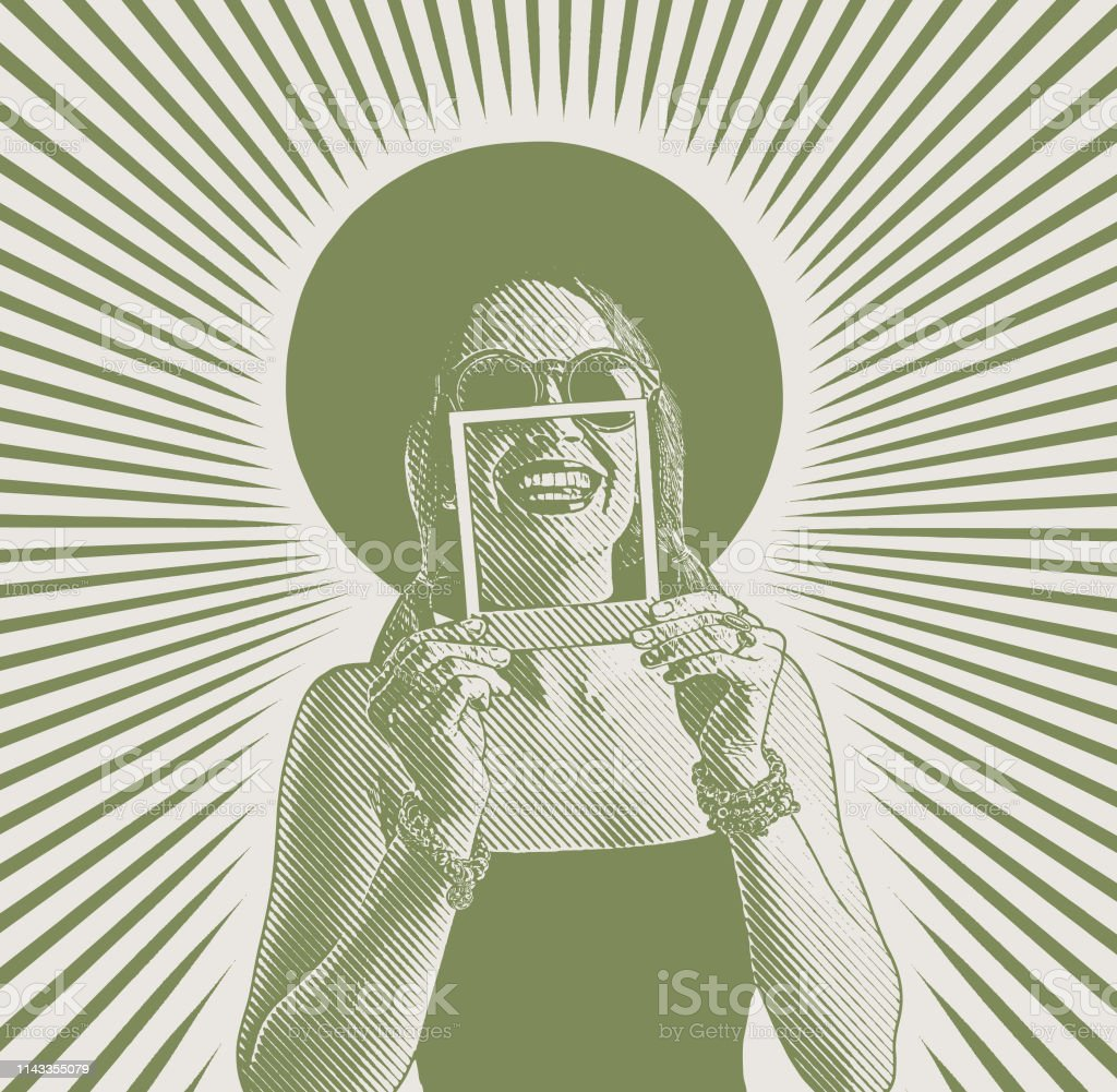 Cheerful woman framing toothy smile with instant photo vector art illustration