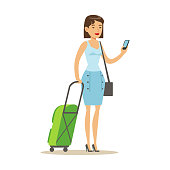Cheerful woman standing with travel suitcases and holding smartphone in her hand. Colorful cartoon character vector Illustration