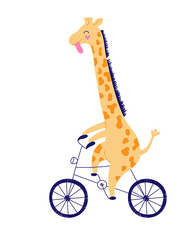 Cheerful yellow giraffe is racing on a bicycle. Hand-drawn illustration, child character on a white background.