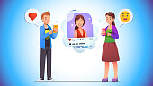 Cheerful young man giving like love heart to social network photo post of smiling woman on his phone app. Woman responds with smile emoticon. Communication concept. Flat style vector character isolated illustration