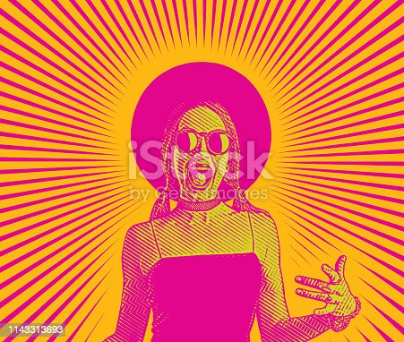 Engraving vector of a Cheerful Young woman laughing and gesturing
