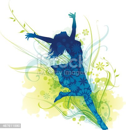istock Cheerful Young Woman Silhouette Jumping For Joy 467611590