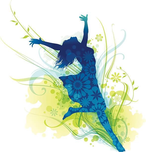 fröhlich junge frau silhouette jumping für freude - freilauf stock-grafiken, -clipart, -cartoons und -symbole