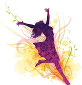 Cheerful young woman silhouette jumping for joy surrounded by colorful flourish in watercolor technique.EPS 10 file contains transparencies.File is layered with global colors.Only gradients used.More works like this linked below.http://www.myimagelinks.com/Lightboxes/spring_files/shapeimage_2.png