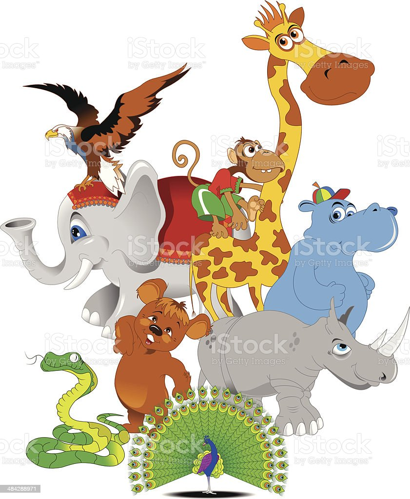 Cheerful Zoo Stock Vector Art More Images Of Animal 484288971