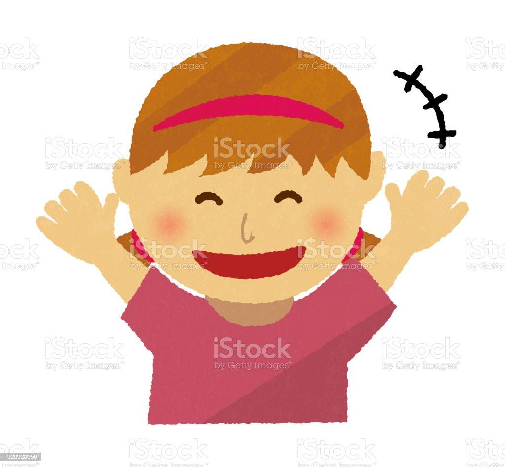 応援と笑顔の女の子手書きのようなイラスト 1人のベクターアート素材や