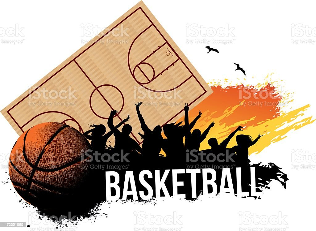 Cheering Crowd in Basketball game vector art illustration