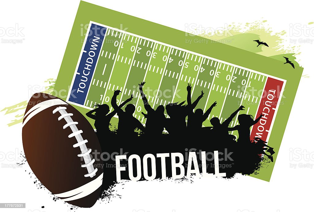 Cheering Crowd in Football game vector art illustration