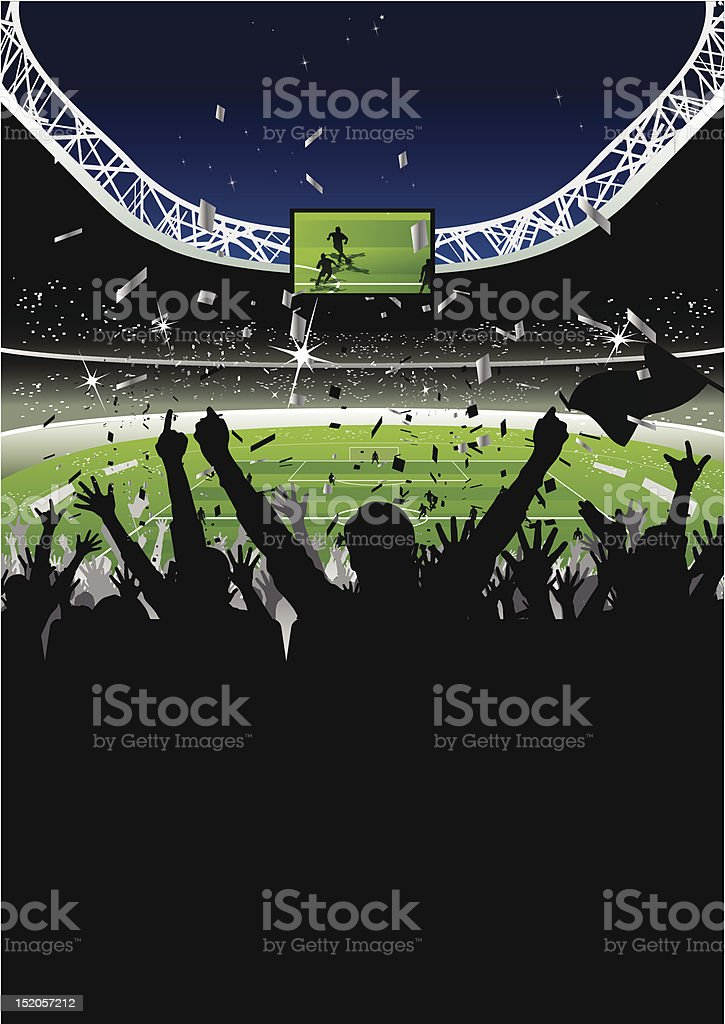 Cheering Crowd in Soccer Stadium at Night vector art illustration