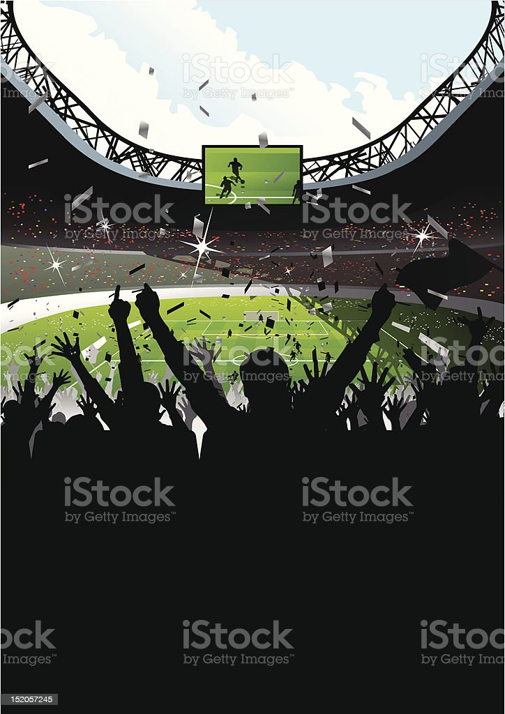 Cheering Crowd in Soccer Stadium vector art illustration