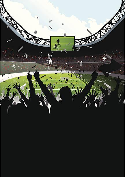 jubeln der zuschauer im fußballstadion - fussball fan stock-grafiken, -clipart, -cartoons und -symbole